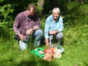 Thomas Harms und Helga Köster freuen sich über die Maipilze.