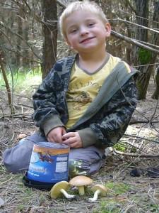 Unser kleine Jonas (4), hat drei Körnchen Röhrlinge gefunden. Doch bevor er sie in sein Eimerchen legen kann, macht Papa noch schnell ein Foto. 12.09.2009.