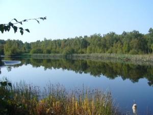 In früheren Zeiten wurde hier ausgiebig Torf gestochen. Nun haben sich Seen gebildet.