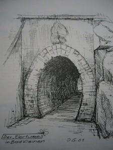 Der Einertunnel in Bad Kleinen. Gezechnet von Josef Gast.