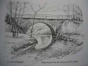 Die eingangs gezeigt Feldsteinbrücke über den Hellbach bei Buschmühlen gezeichnet nach der alten Fotografie im Jahre