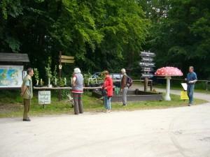 Der Wegweiser zum Pilzmuseum zeigt