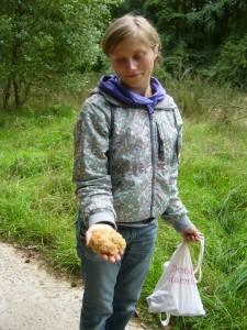 Liebevoll betrachtet diese glückliche Sammerin ihre kleine Krause Glucke, die sie gerade an einem Kiefernstubben fand.