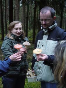 Drei Leute, drei Pilzarten: der Fliegenpilz ist allgemein bekannt, der Perlpilz nicht ganz so und auch der Fichten - Reitker ist nicht jedem Pilzsammler ein Begriff. 16.10.2010.