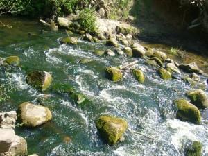 Wildwasser am Hellbach. Es handelt sich um die Reste einer alten Feldsteinbrücke.
