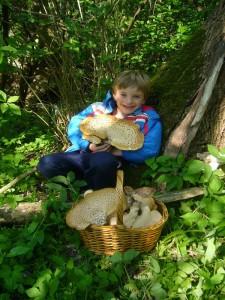 Und schließlich ist Jonas geschafft und der Korb mehr als voll. Welch eine Freude, die Pilzkloppse sind gesichert. 25.04.2011.