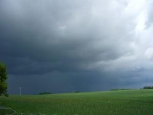 Schwere Donnerschläge in der Ferne und eine bedrohliche Wolkenwand ziehen am Mittag in Brüel auf. Es war der erste starke Gewitterschauer. Weitere, ähnlich starke sollten bis zum Abend noch folgen. Auf so ein tolles Wetter haben wir lange gewartet!. 15.05.2011.