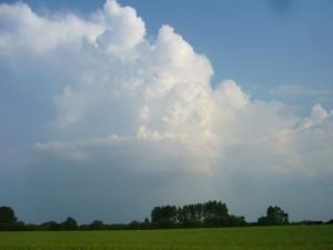 Gestern Abend zogen die ersten Gewitterschauer auf, brachten aber nur in Richtung Vorpommern etwas mehr Regen. 05.06.2011.