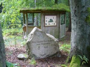 Mitten im Wald dieser Gedeknkstein für die Zapeler Forstleute mit schöner Wanderhütte und einigen Schautaffeln zum Thema Wald.