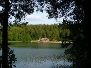 Idyllisch liegt der Rote See in der Abendsonne des 13. Juni 2012. Gegenüber das Ausflugsobjekt, wo die Kinder gerade ihren kleinen Grillabend zum Ausklang des ersten Schuljahres verleben.