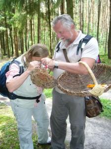 Es ist doch bei manchen Arten sehr sinnvoll, eine Lupe griffbereit zu haben. Dorothee und Günter Meissner schauen sich die Unterseite eines Ohrloffel - Stachelings an.