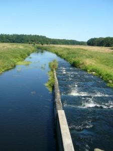 In der letzten Zeit wurden an vielen Fließgewässern sogenannte Fischtreppen angelegt, so auch hier zwischen Augustenhof und Vorbeck. Rechts herrscht frei Fahrt für die Warnow - Paddler, links dürfen sich die Fische sportlich betätigen.