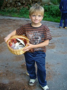 Auch Jonas war natürlich bei diesem Abenteuer mit von der Partie. Er hatte uns gleich noch Champigons und Grüne Knollenblätterpilze mitgebracht, die er uns dann auch vorstellte.