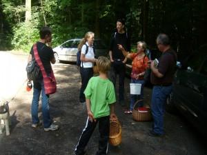 Nach dem Mittag ging es schließlich zur Halbinsel Schefwerder am Schweriner See. Irena Dombrowa führte uns durch dieses kalkhaltige Laubwaldgebiet und bespricht mit uns die Wanderroute.