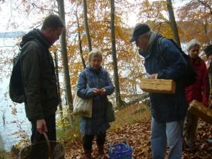 Irena Dombrowa während einer Pilzberatung mit interessierten Zuhörern. Es gibt immer zwei Lager bei den Pilzwanderern. Die einen wollen nur den Korb voller Esspilze, die anderen möchten vordergründig etwas lernen.