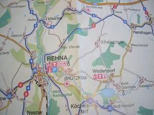 Hier der Kartenausschnitt. Unser Zielwald liegt östlich von Rehna und nördlich von Wedendorf sowie südlich des Ortes Othenstorf.