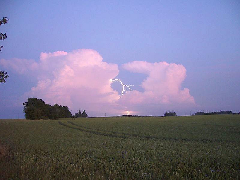 Dieses wunderschöne Blitzfoto gelang mir am Abend des 04. Juli 2009 südlich von Wismar. Es zeigt ein isoliertes, zweizelliges Wärmegewitter, das sich am Abend in sehr heißer Luft gebildet hatte. Die Chemie und Harmonie dieses Gewitterbildes ist einmalig schön! Es ist mein Lieblingsfoto!