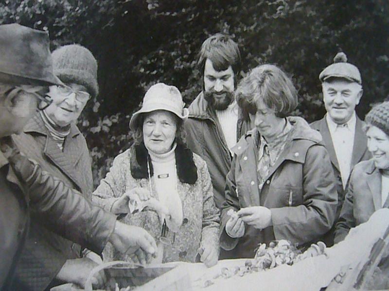 Pilzkontrolle auf einer Pilzlehrwanderung um das Jahr 1980 herum. Links sehen wir Annalotte Heinrich und rechts Sigrid Steinbrecher bei krtischen duchforsten des Sammelsuriums. Jeder Teilnehmer der Wanderung mußte zum Schluss der Wanderung nochmals seine gesammelten Werke ausschütten und kontrolliren lassen.