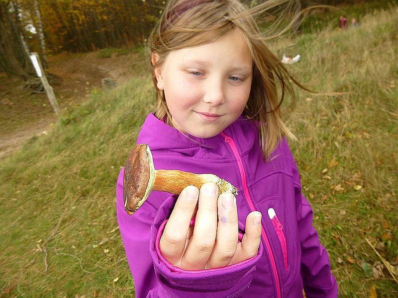 Diese Schülerin träumt wohl schon von einem schmackhaften Pilzgericht, jedenfalls schaut sie sich genüßlich diesese schöne Marone an.