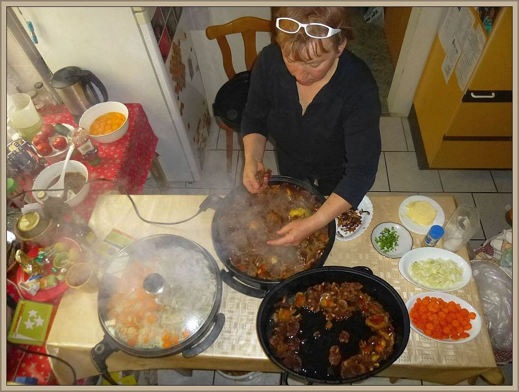 Inzwischen war Irena mit der Zubereitung des Mittagstisches beschäftigt. Es gab auch wieder unsere Pilzverkostung. Stockschwämmchen, Maipilze und Judasohren standen zur Diskusion. Mir persönlich mundeten die Stockschwämmchen am besten, aber auch der Maipilz stand ganz hoch im Kurs.