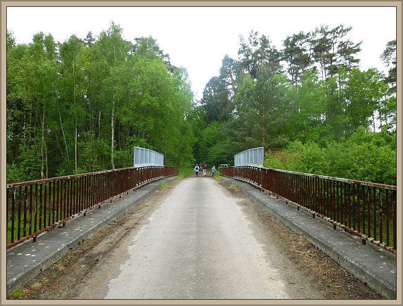 Nach dem Mittagessesn brachen wir noch zu einer Abschlußexkursion in den Sültener Forst auf. Hier sehen wir den Weg über die Einsenbahnbrücke an der Friedrichswalder Weiche.