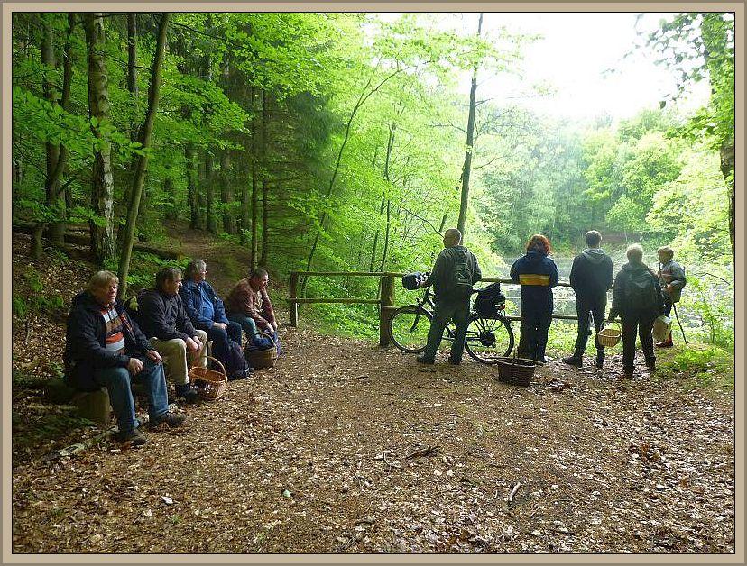 Kleine Pause am verschwundenen Waldweg. Seit dem 15. Juni 1978 ist der Waldweg an dieser Stelle auf etwa 100 Meter unterbrochen.