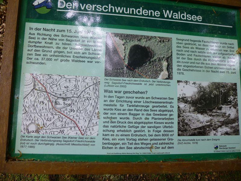 Eine Schautafel der Naturparkverwaltung Sternberger Seenland erläutert das damaligen Ereigniss.