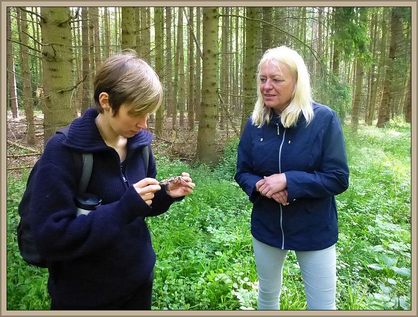 Diese beiden jungen Damen haben etwas sehr merkwürdiges wie interessantes an einem kleinen Stock entdeckt.