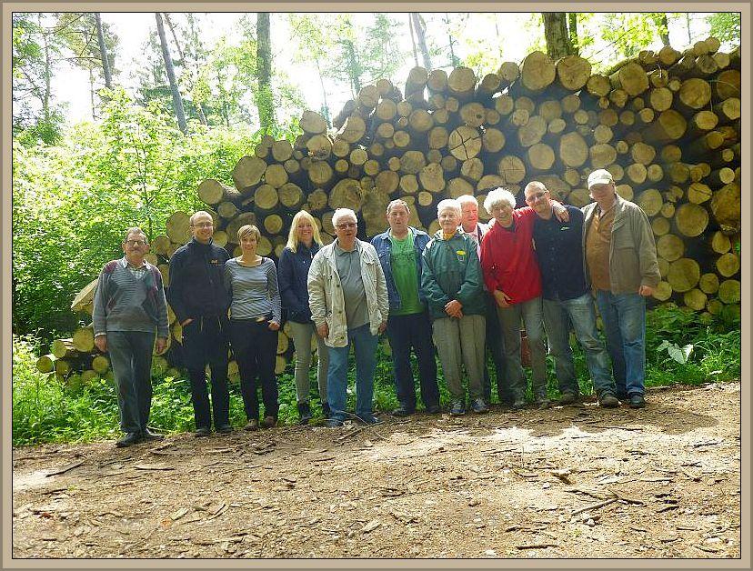 Zum Schluß versammelten sich nochmals alle 11 Teilnehmer unserer heutigen Wanderung vor einem großen Holzstapel zu unserem obligatorischen Erinnerungsfoto.
