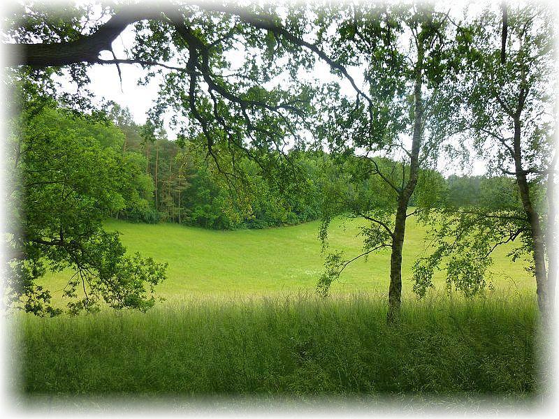 Sanft wellen sich die Hügel mit ihren Wiesen und Wäldern.