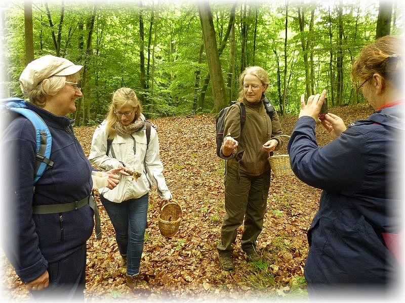 Immer wieder fanden auch die kleineren der Großpilze unsere Ausmerksamkeit und wurden auch im Foto festgehalten. Monika Leister (2. von rechts) präsentiert hier einen Waldfreund - Rübling.