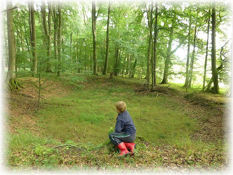 Jonas überlegt wi hier wohl diese große, fast kreisrunde vertiefung im Wald her gekommen ist. Könnte hier vor langer Zeit ein Meteorit eingeschlagen sein?, so seine Überlegungen. Wir wissen es nicht!