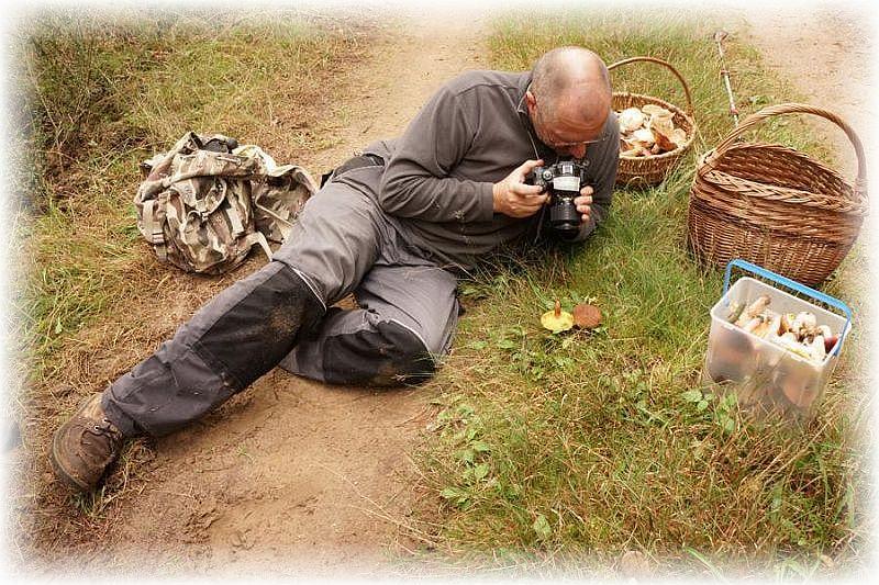 Beim fotografieren von Pilzen ist oft ganzer Körpereinsatz von nöten. Foto: Ulrich Klein