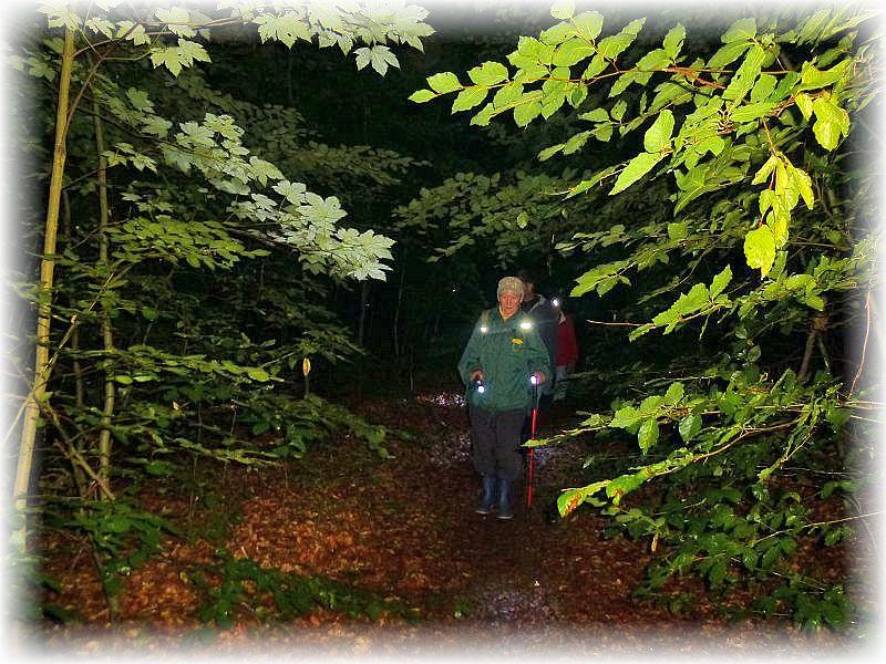 Wer nicht ganz so gut zu Fuß war, dem konnte ein Wanderstock, der zusätzlich noch mit einer Lichtquelle ausgestattet war, den Weg durch die Nacht erleichtern