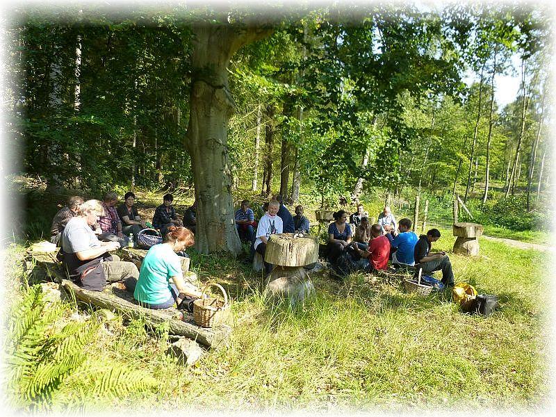 Es war ein sonniger und warmer Spätsommertag und eine urige Sitzgruppe ludt zum verweilen ein. Hier konnte zugleich auch nochmals die Fundstücke erläutert und vorgestellt werden.