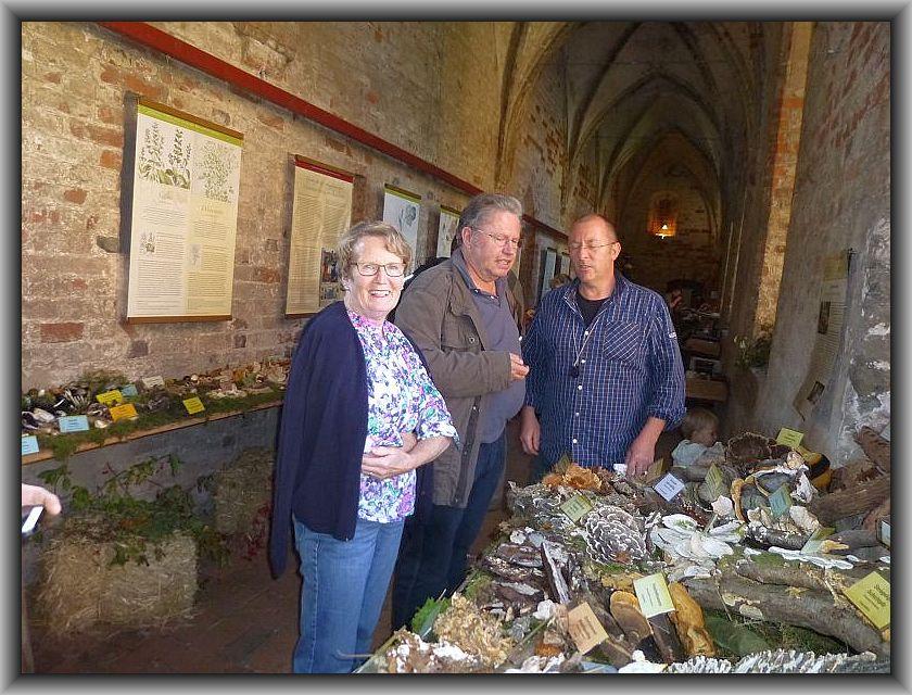 Torsten Richter (rechts) beim Fachsimpeln mit Anke Weselow und Ulrich Klein von den Wismarer Pilzfreunden.
