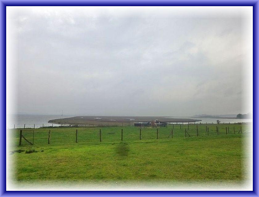 Blick über das Naturschutzgebiet Fauler See mit seinen Verlandungsflächen, den Nährungen, in die Wismar Bucht hinaus.