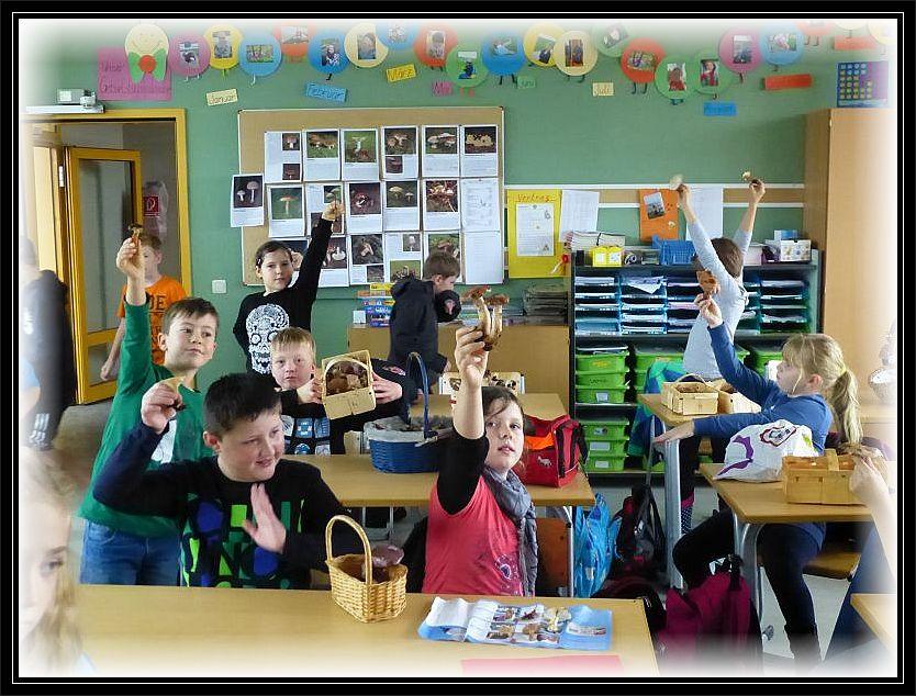Zurück im Klassenzimmer halten die Schüler nochmal ihre Lieblingspilze hoch.