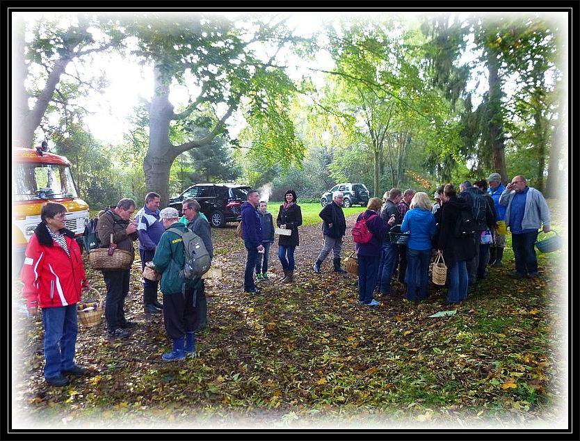 Insgesamt etwa dreizig Pilzfreunde hatten sich in Schönlage heute eingefunden.