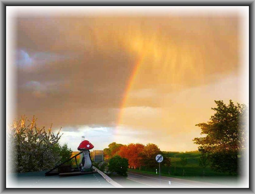 Etwa 26 Stunden später versöhnliche und romantische Wetterstimmung mit Regenbogen und Niederschlagsschleier während eines harmlosen Regenschauers. Der Regenbogen geht scheinbar genau an der Stelle runter, wo gestern Abend der Tornado in Thurow und Brüel wütete..