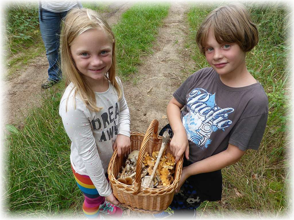 Voller Freude präsentieren die beiden Urlauberkinder aus Thüringen ihre Pilzfunde. Das wird ein wirklich tolles Mischpilzgericht mit reichlich großen Pfifferlingen.