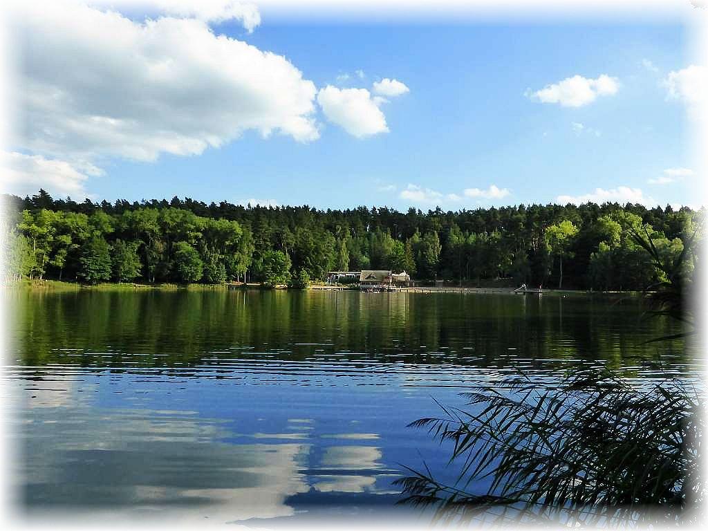 Ein letzter Blick zurück auf die Badestelle und die Blockhütte am Roten See bei Brüel. Immer einen Ausflug wert. 29. August 2015.