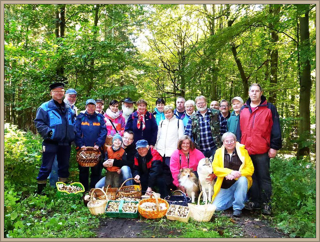 Unser Gruppenfoto am 10.Oktober 2015 im Brümmersal bei Rehna. Mit gut 25 Leuten (einige hatten sich bereits verabschiedet) waren wir heute eine starke Truppe und auch die Körbe der meisten Pilzfreunde füllten sich so gut wie auf keiner anderen Wanderung in diesem Jahr bisher.