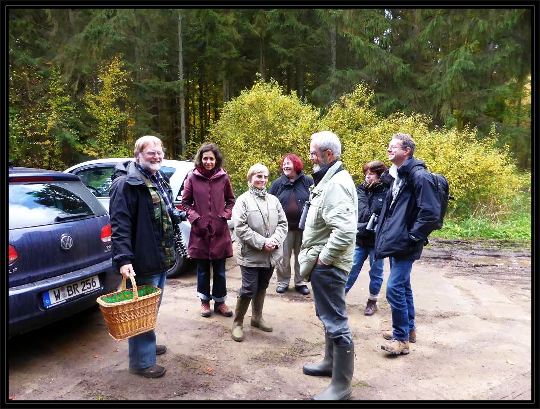 Ankunft im Woitendoerfer Wald bei schönstem Oktoberwetter.