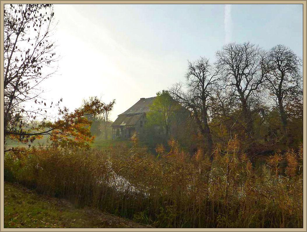 Das alte Wasserschloss in Gnemern im morgentlichen Dunst des anbrechenden Novembertages. Von hier aus starteten wir zu unserer Esxkursion.