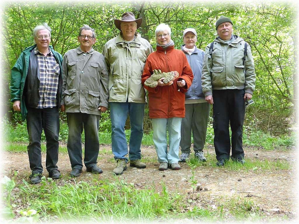 Hier unser Erinnerungsfoto - wenig Pilze - wenig Leute! Botelsdorfer Wald am 16. Mai 2016.