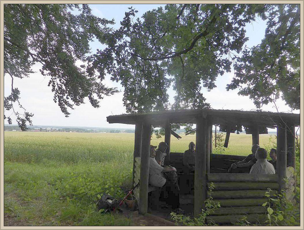 Kleine Verschnaufpause mit Blick in die Landschaft am Waldesrand.