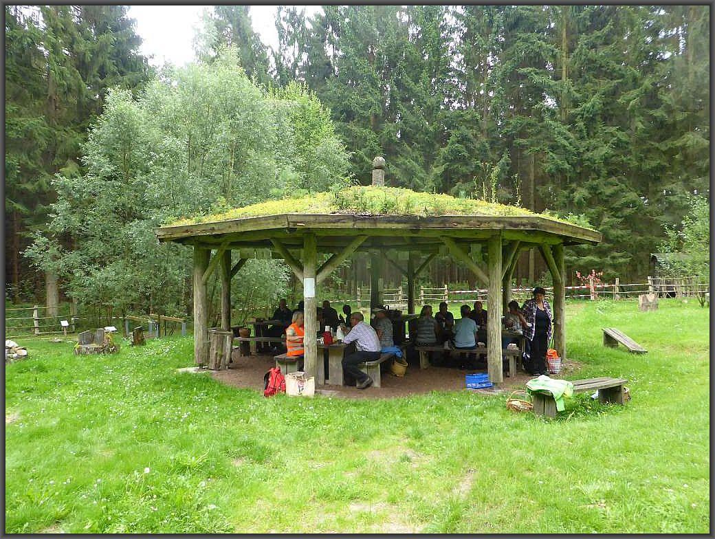 Schließlich schloss sich der Kreis unserer Wanderung und wir nutzten den überdachten Pavilion der Waldschule zu einem kleinen Picknick in gemütlicher Runde.