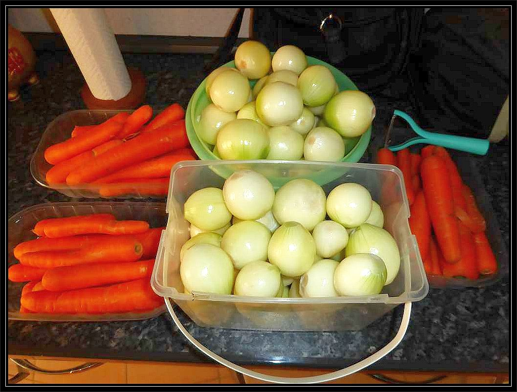 Zwiebeln und Möhren für die Pilzpfanne mußten geputzt, zerkleinert und angeschmort werden.