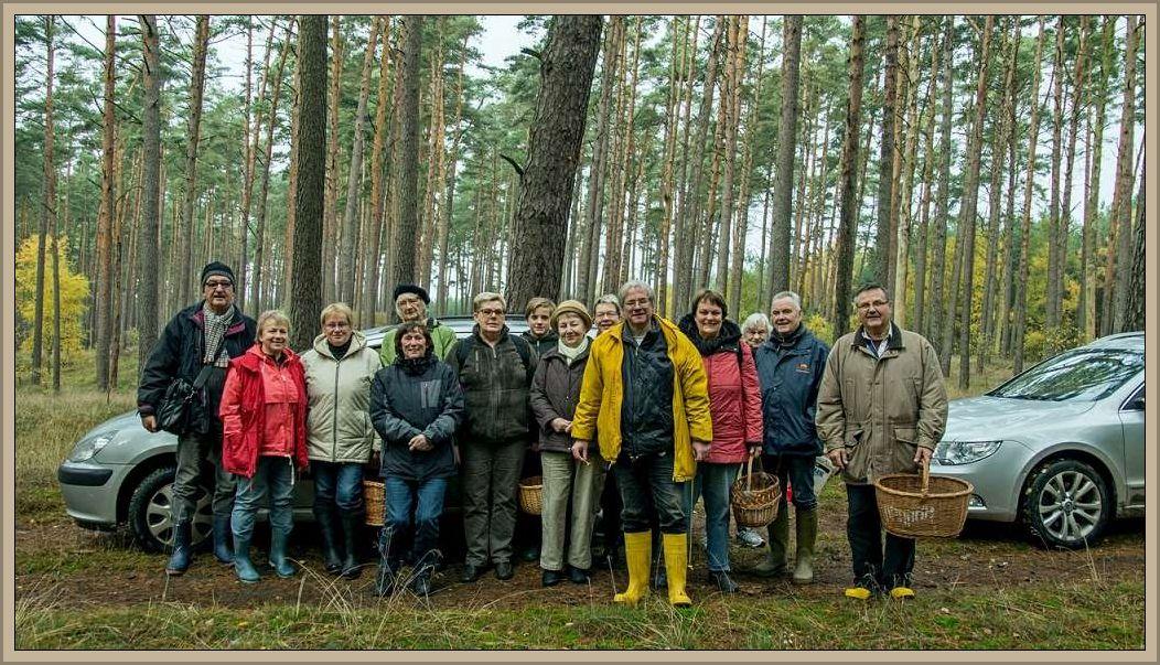 Unser Erinnerungsfoto entstand zu Beginn der Wanderung, was an den noch leeren Körben zu erahnen ist. Diese waren zum Schluß natürlich mehr ofer weeniger gut gefüllt. 06. November 2016 im Wald bei Groß Laasch.